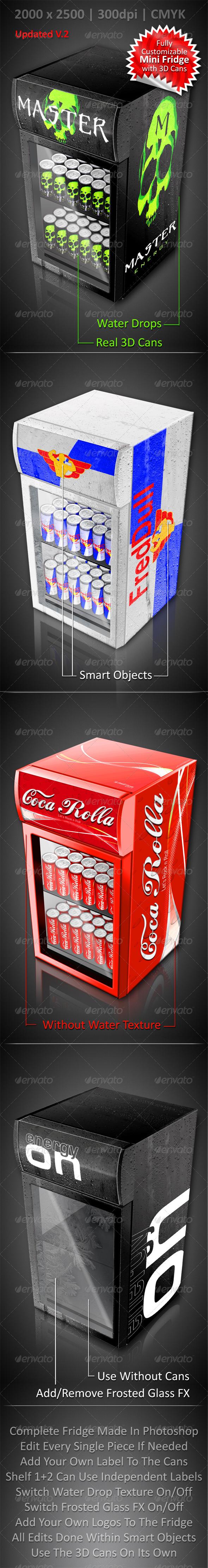 Energy Drink Soda Can Mini Fridge Mockup - Food and Drink Packaging