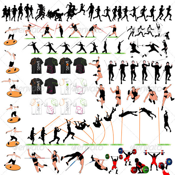 88 Sport Silhouettes and T-shirts Set - Sports/Activity Conceptual