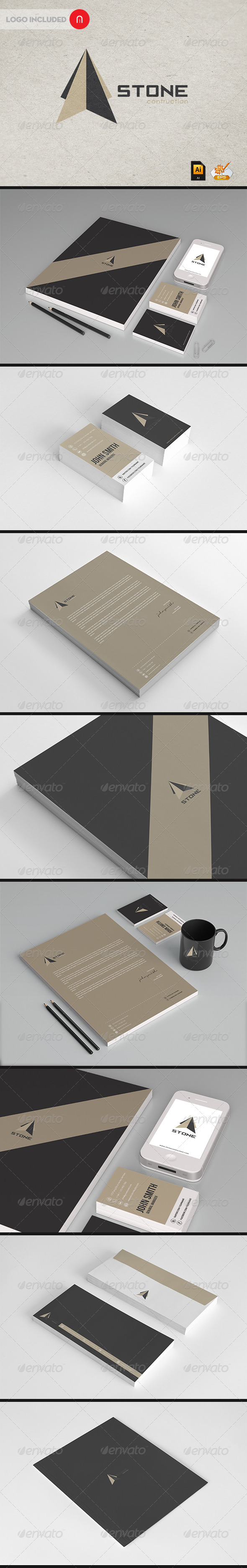 Stationary & Identity - Stone contructions - Stationery Print Templates