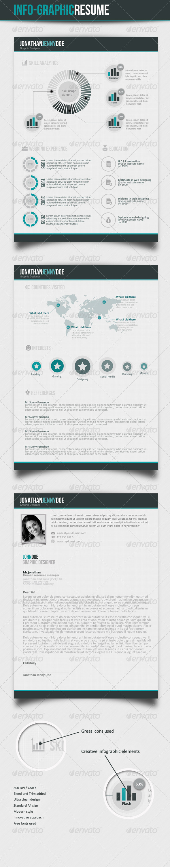 Info graphic CV  - Resumes Stationery