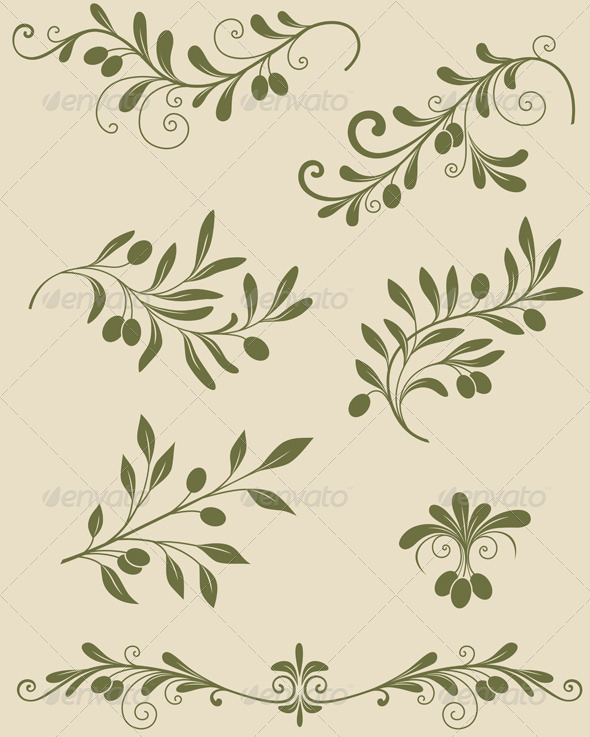 Decorative Olive Branch - Flourishes / Swirls Decorative