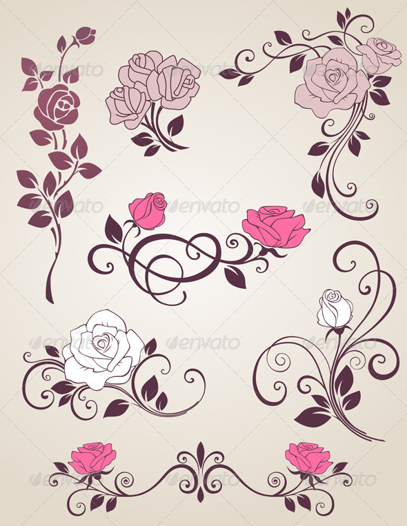Decorative Roses - Flourishes / Swirls Decorative
