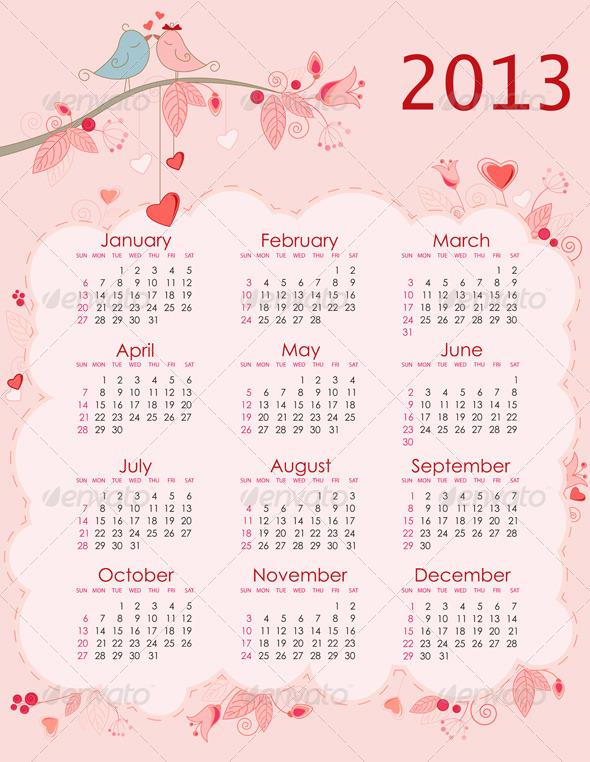 Calendar for 2013 - Miscellaneous Vectors