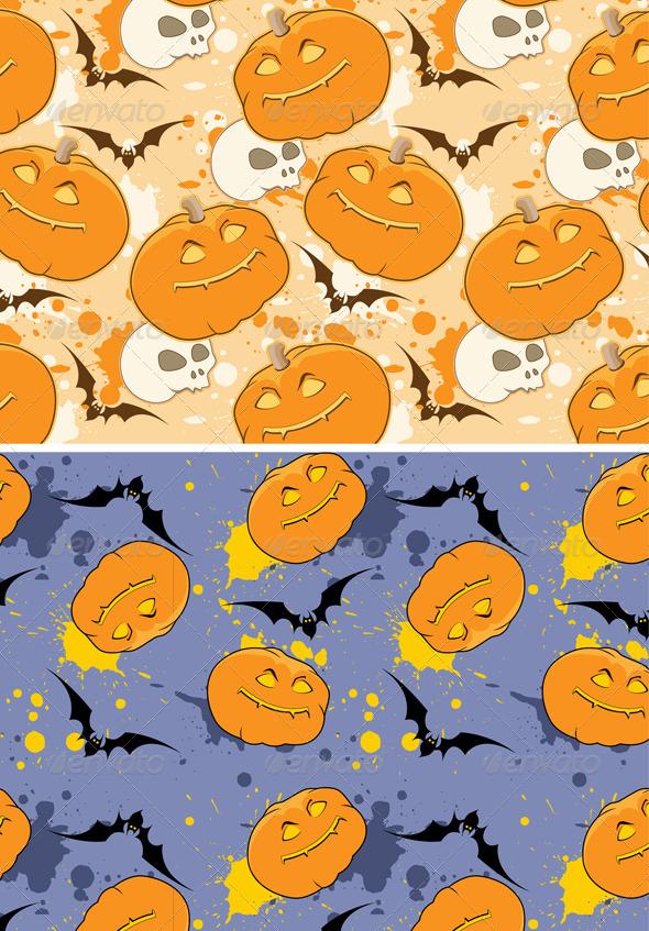 Yellow and Violet Halloween patterns - Halloween Seasons/Holidays