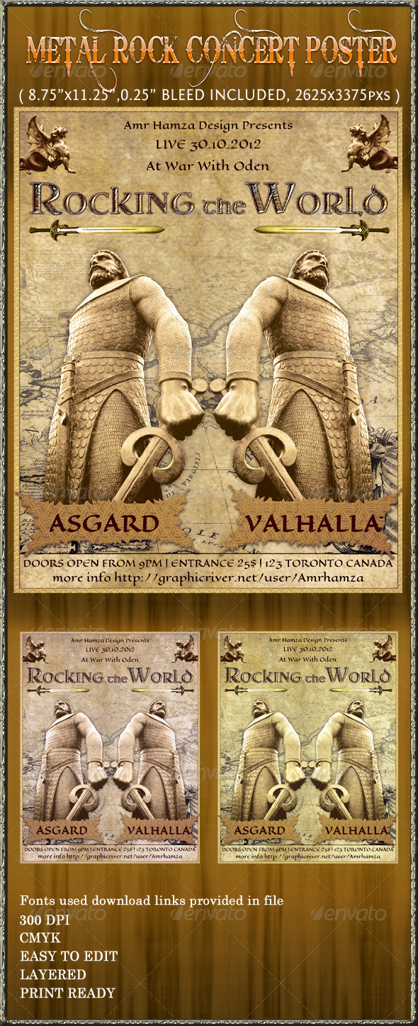 Metal Rock Concert Poster Flyer - Concerts Events