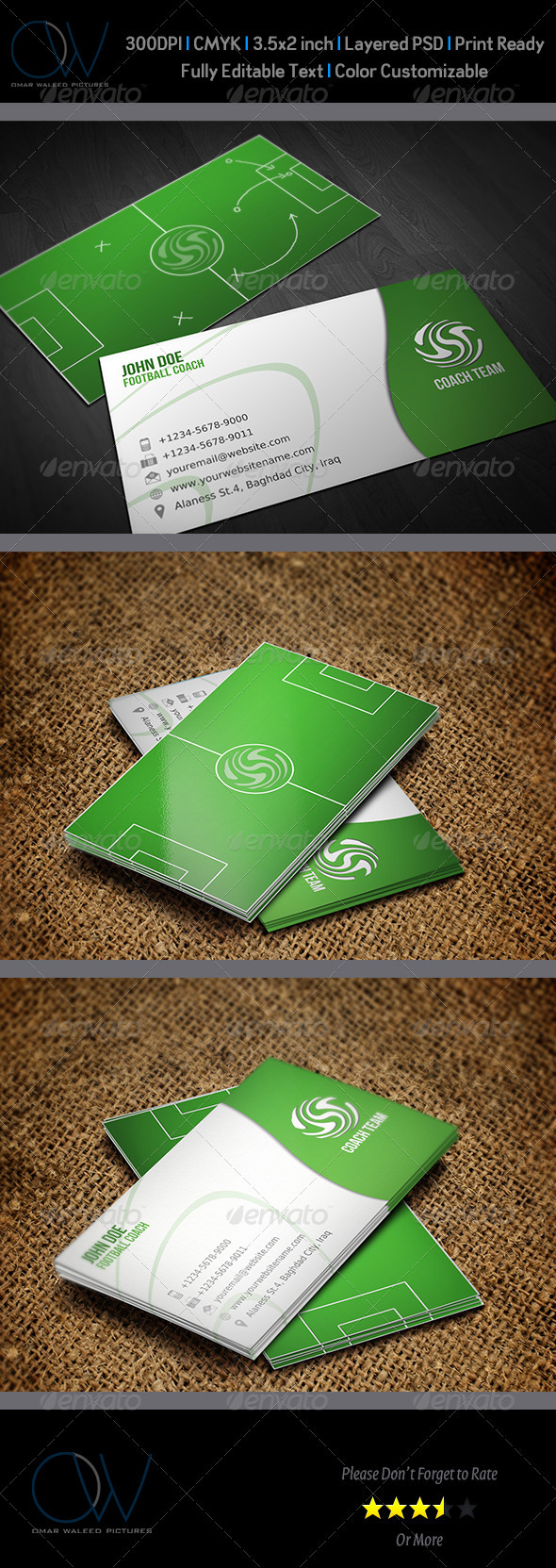 Football Coach Business Card by OWPictures | GraphicRiver