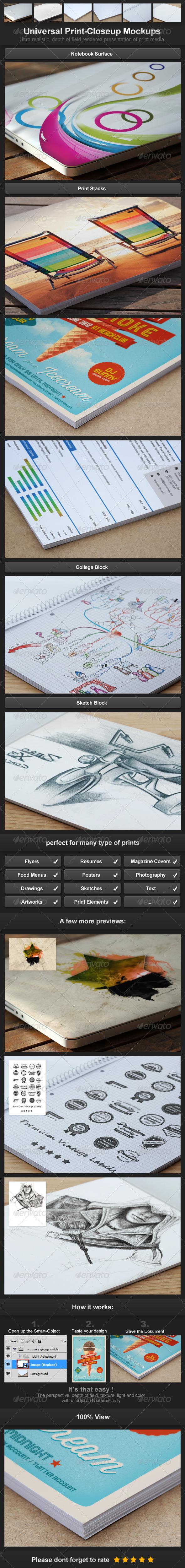 Universal Print-Closeup Mockups - Miscellaneous Print