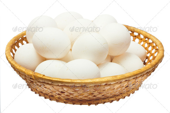 White eggs in the basket - Stock Photo - Images