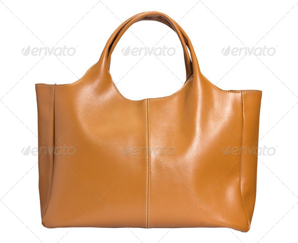 Yellow female bag on white - Stock Photo - Images