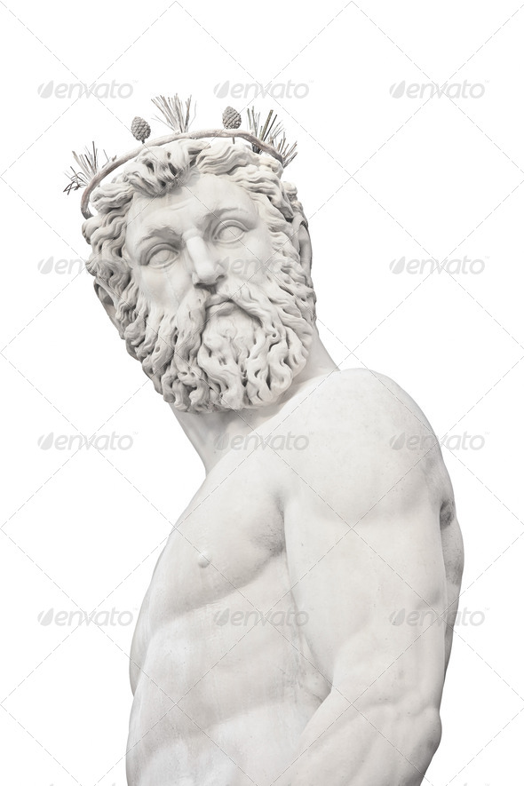 Neptune God medieval Fountain Statue detail on white. Florence, Italy. - Stock Photo - Images