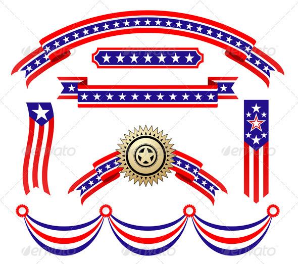 American Patriotic Ribbons Set - Decorative Vectors