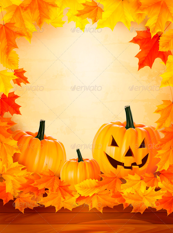 Pumpkin Background with Leaves Halloween Backgroun - Halloween Seasons/Holidays