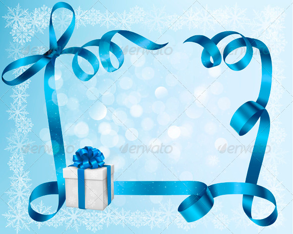 Holiday Background with Blue gift Bow with Gift Box - Christmas Seasons/Holidays