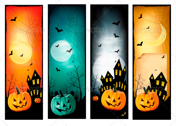 Four Halloween Banners. Vector. - Halloween Seasons/Holidays