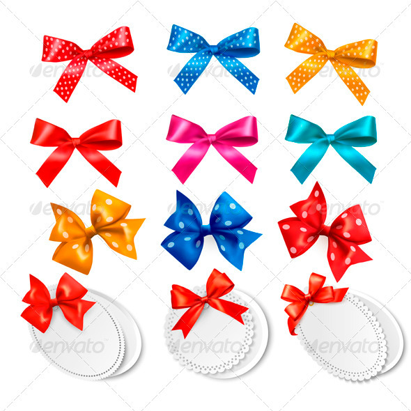 Big Collection of Colorful Gift Bows and Labels - Birthdays Seasons/Holidays