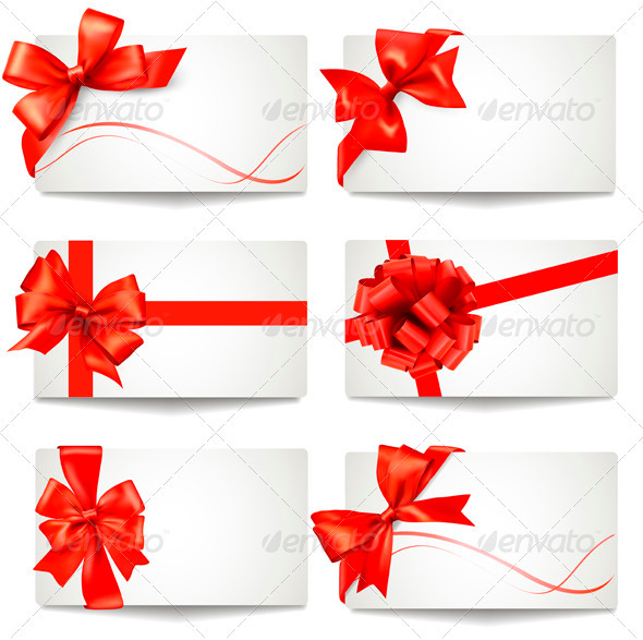 Set of Gift Card Notes with Red Bows and Ribbons - Christmas Seasons/Holidays