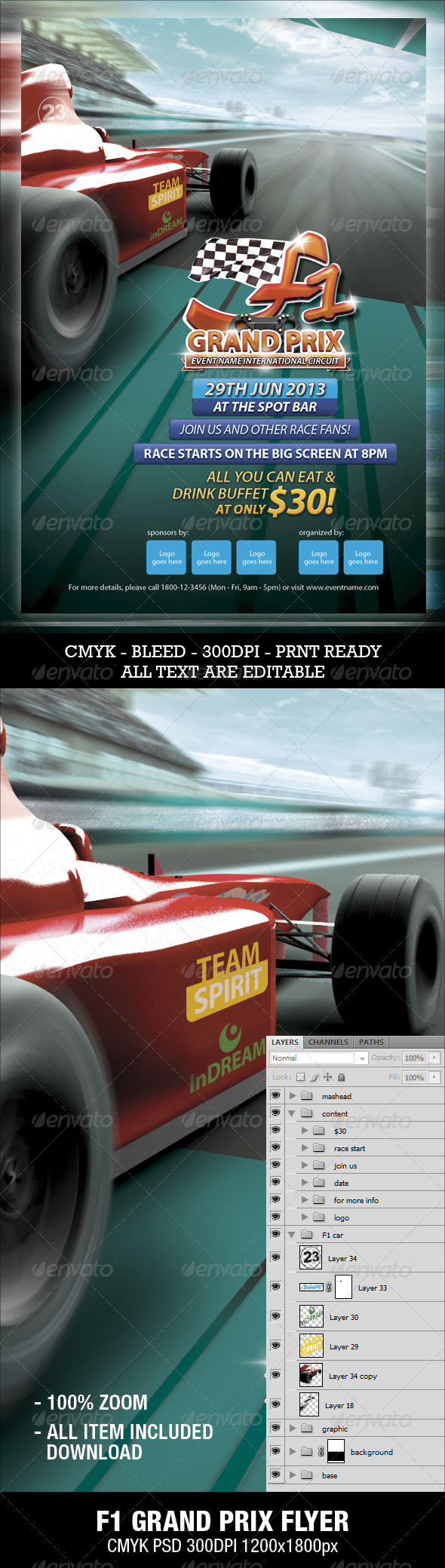 F1 Grand Prix Flyer - Sports Events
