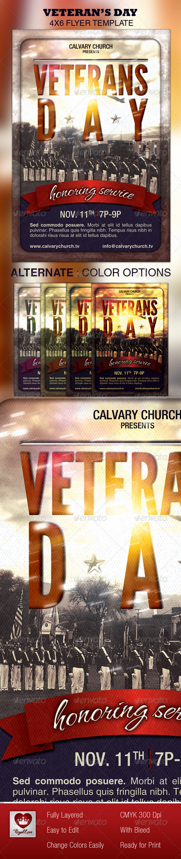 Veterans Day Church Flyer - Church Flyers