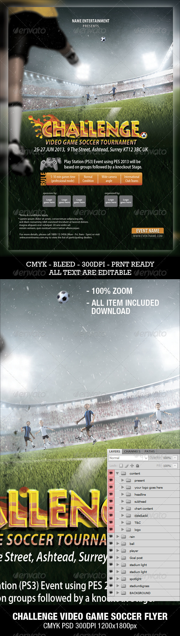 Soccer Video Game Flyer - Sports Events