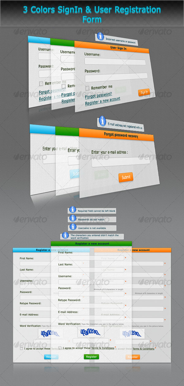 3 Colors SignIn & User Registration Form - Forms Web Elements