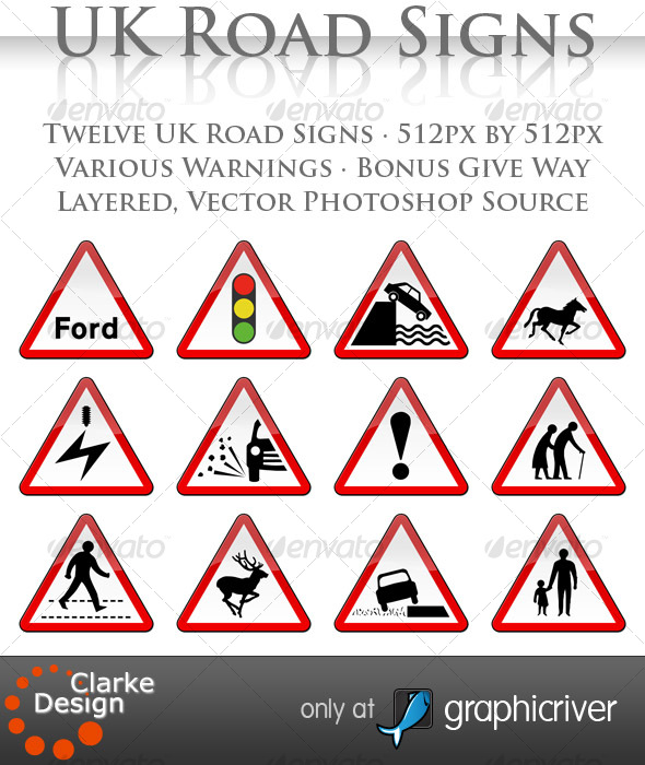 UK Road Signs: Warnings - Objects Illustrations