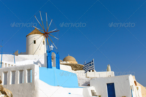 Windmill in Oia  - Stock Photo - Images