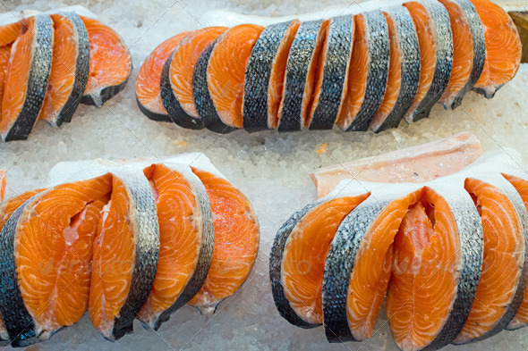 Fresh salmon on ice  - Stock Photo - Images