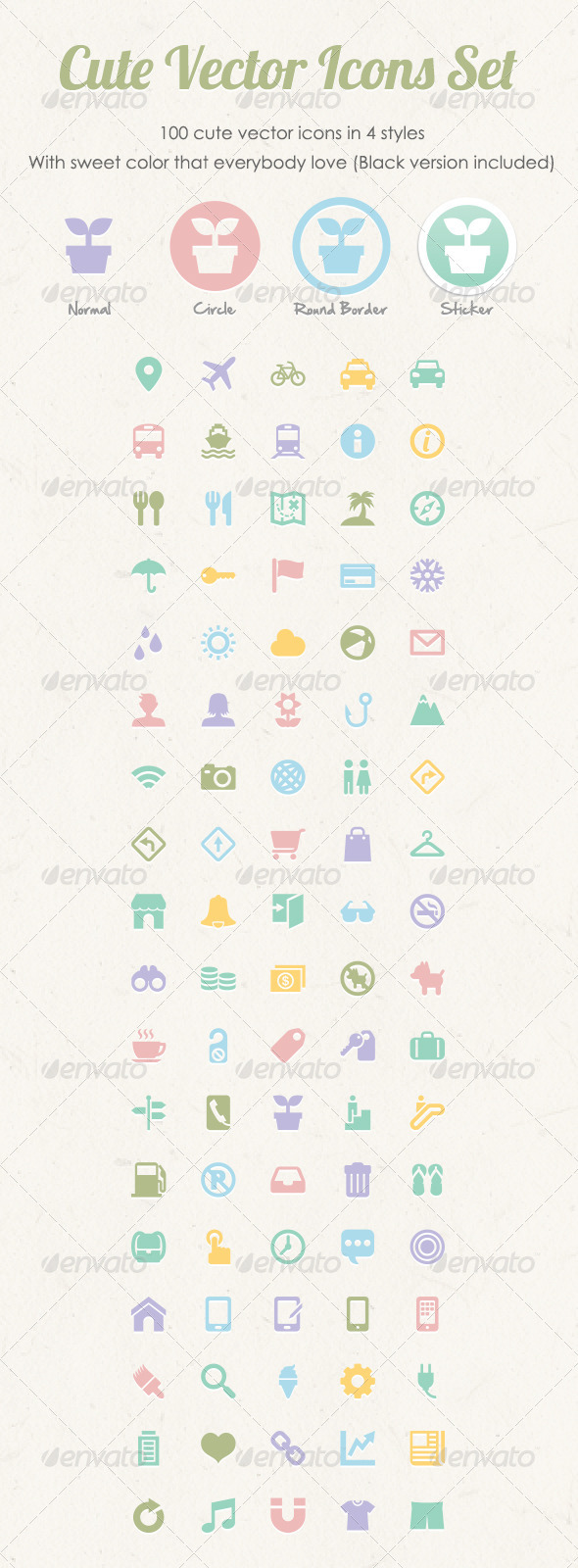 Cute Vector Icons Set - Web Icons