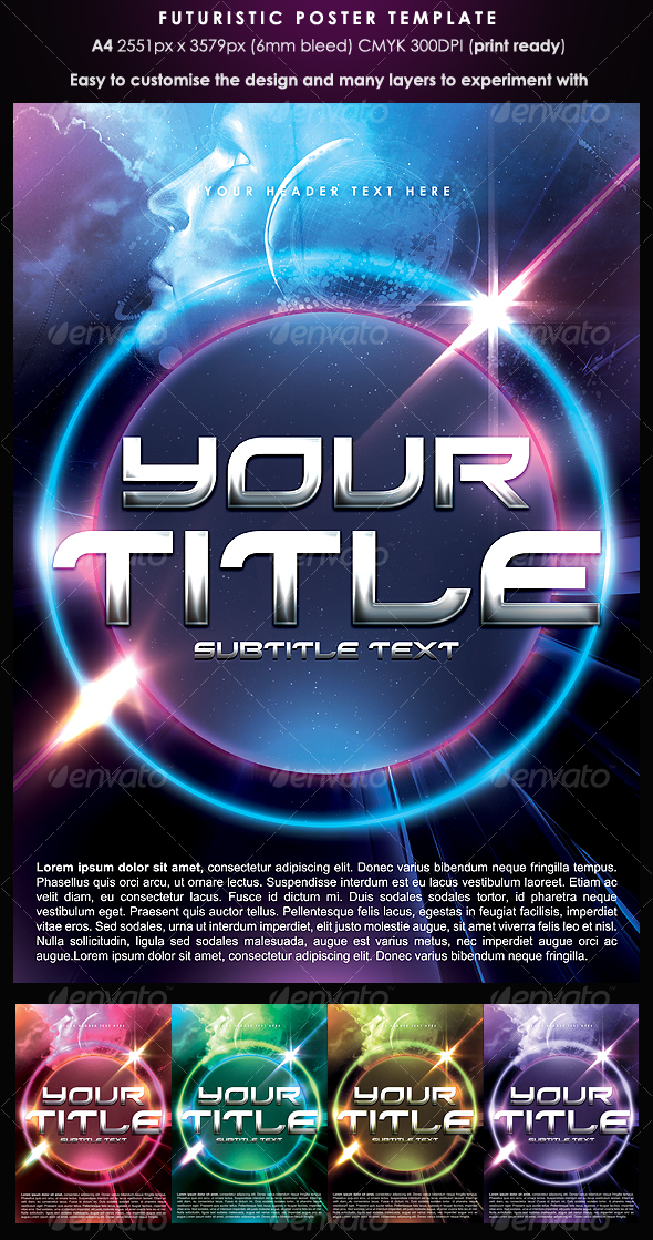 Futuristic Poster Template - Clubs & Parties Events