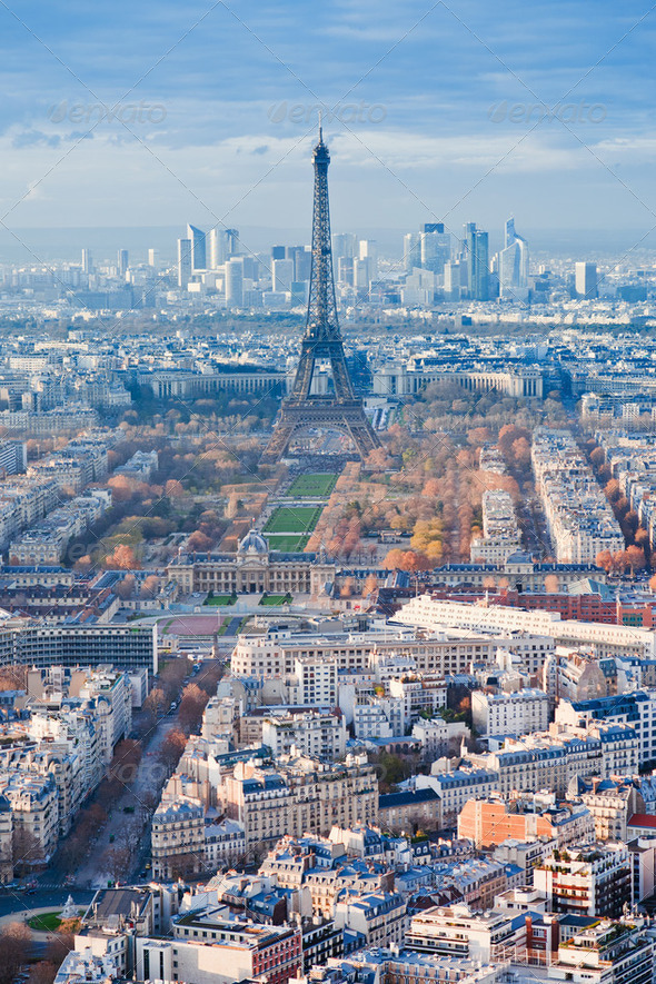 panorama of Paris in winter afternoon - Stock Photo - Images