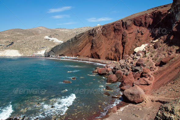 Red beach on Santorini island  - Stock Photo - Images