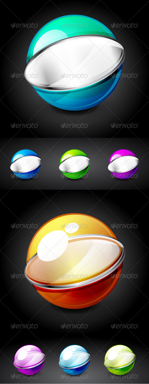 Glossy Vector Technology Spheres - Decorative Symbols Decorative