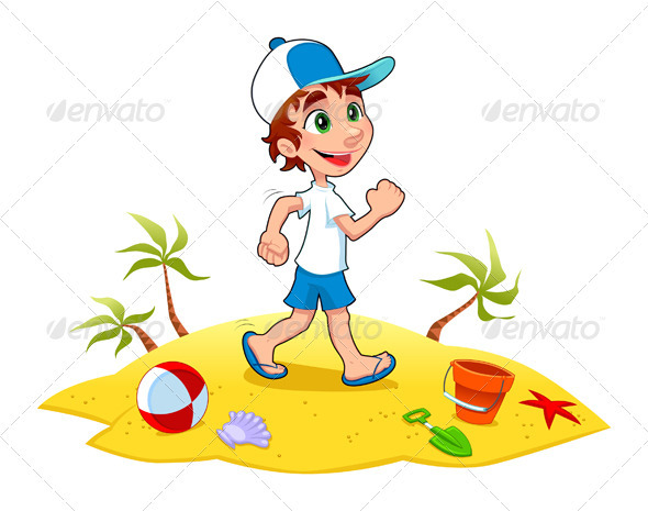 Boy is Walking on the Sand  - Sports/Activity Conceptual