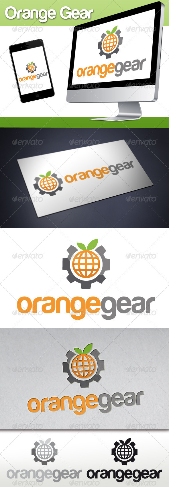 Orange Fruit World Gear Logo - Food Logo Templates