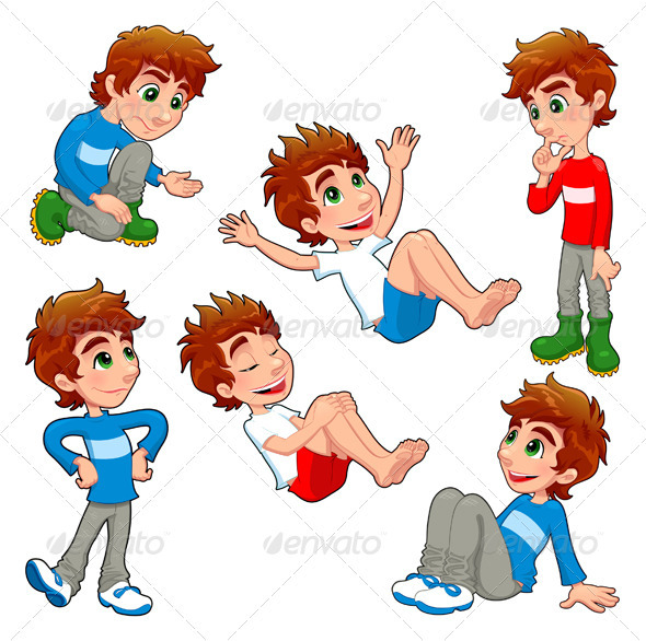 Boy in Different Poses and Expressions - People Characters
