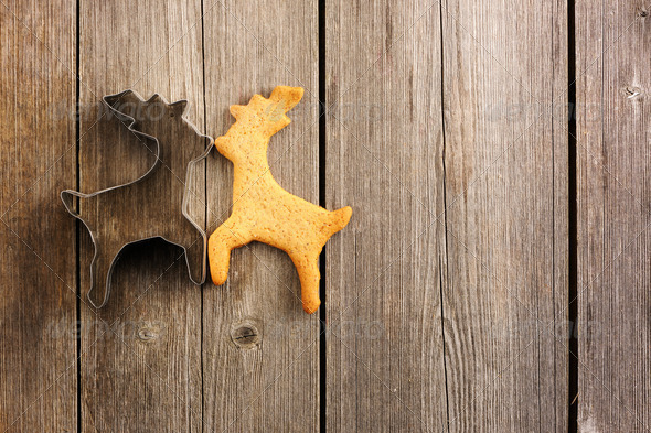 Christmas homemade gingerbread deer cookie - Stock Photo - Images