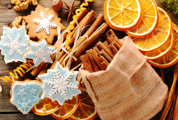 Christmas homemade gingerbread cookie and spices - Stock Photo - Images