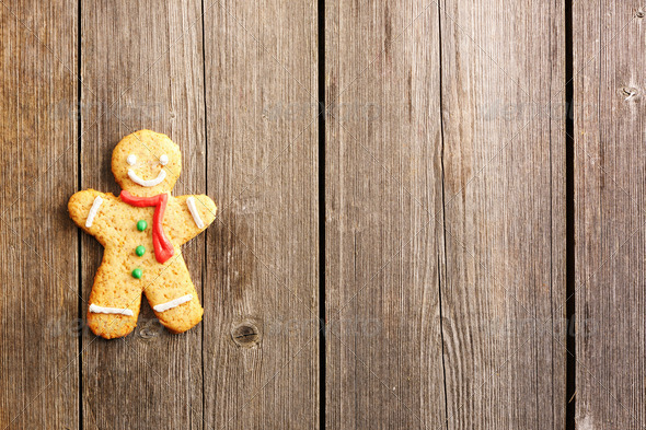 Christmas homemade gingerbread man cookie - Stock Photo - Images