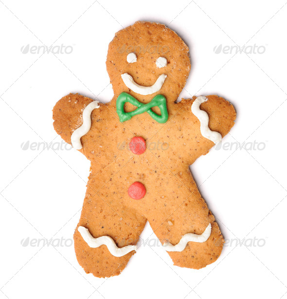 Christmas gingerbread man cookie - Stock Photo - Images