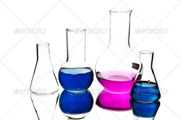 chemical laboratory equipment isolated - Stock Photo - Images