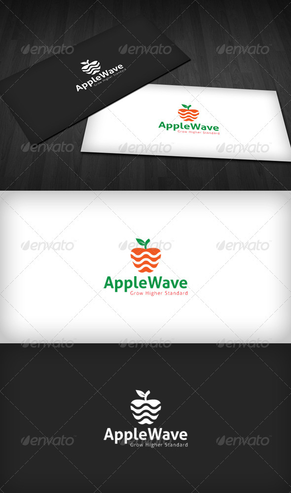 Apple Wave Logo - Food Logo Templates