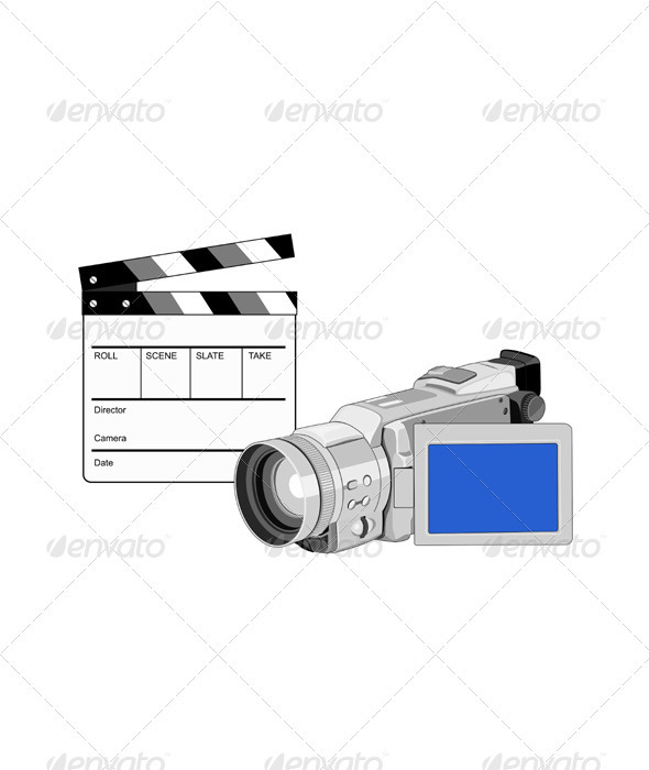 Video Camera Movie Clapboard Retro - Characters Vectors