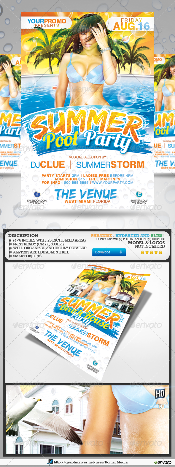 Summer Party Flyers - Flyers Print Templates