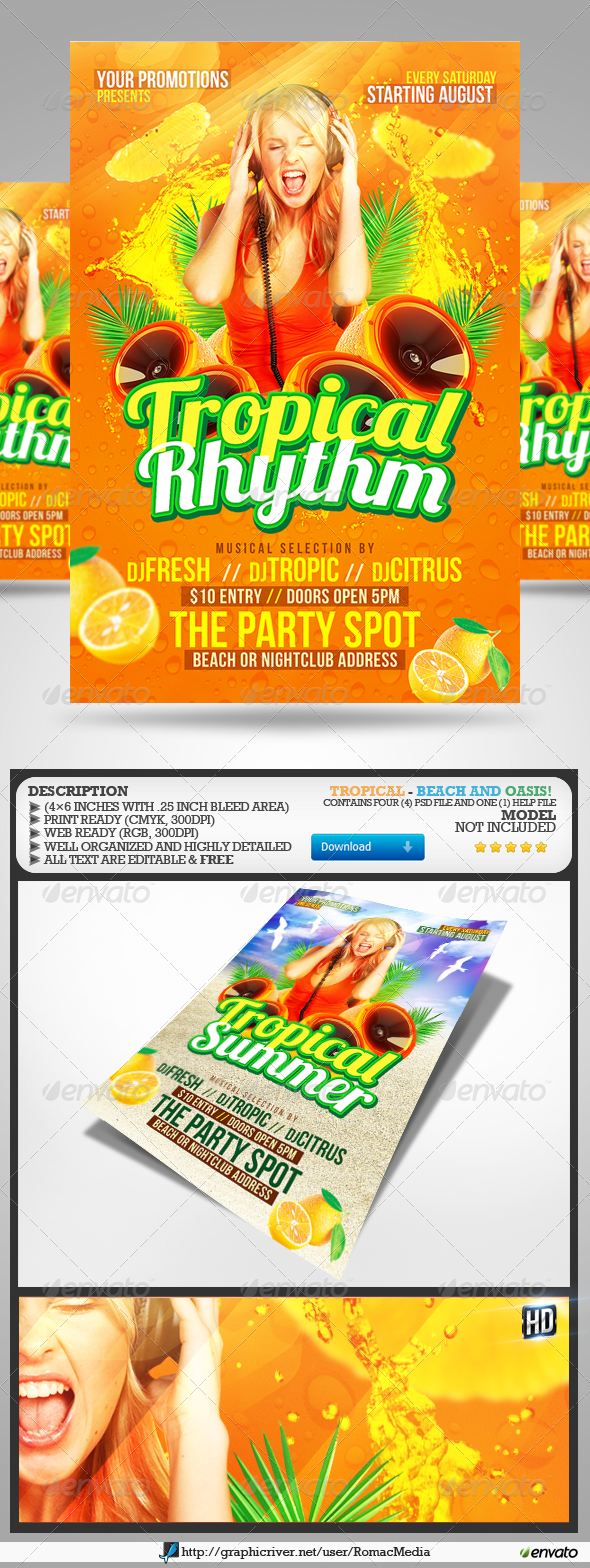 Tropical Party Flyers - Events Flyers