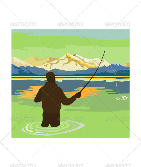Fly Fisherman Rod and Reel Retro - People Characters