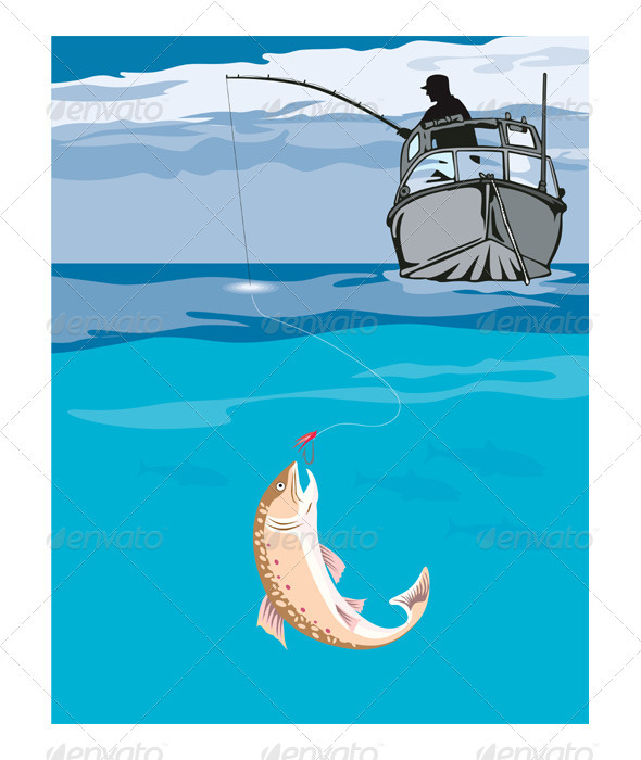 Fisherman Fishing Trout Fish Retro - Animals Characters