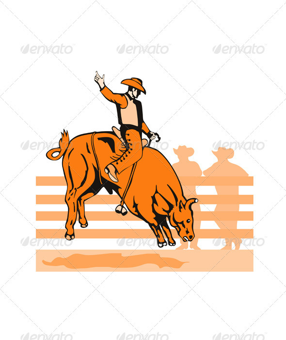 Rodeo Cowboy Bull Riding Retro - Animals Characters
