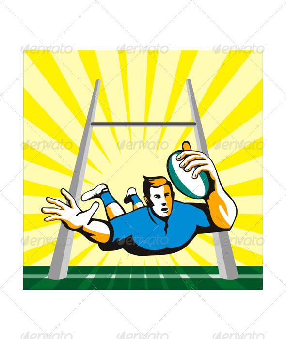 Rugby Player Scoring Try Retro - Sports/Activity Conceptual