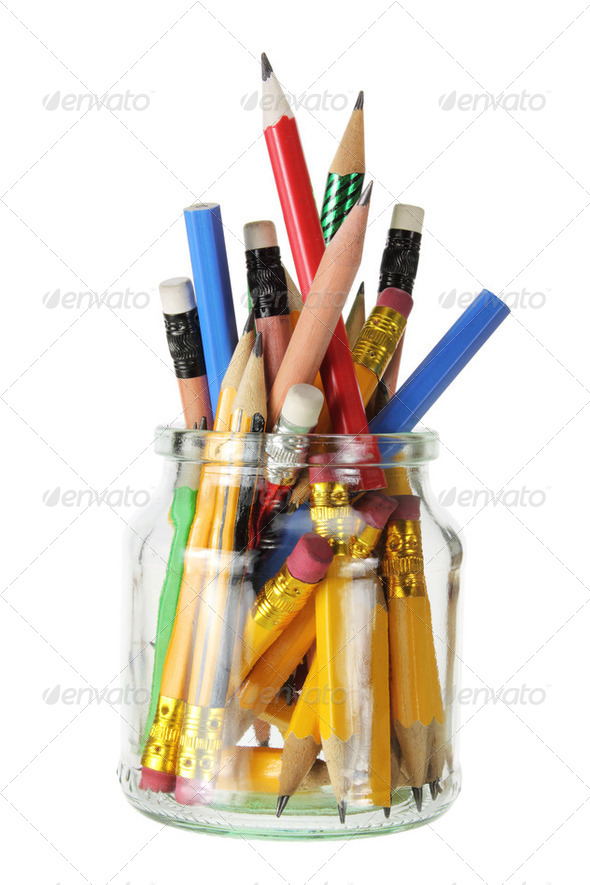 Pencils in Glass Jar - Stock Photo - Images
