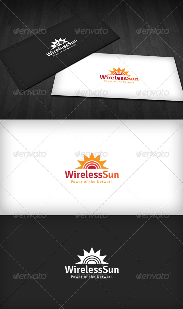 Wireless Sun Logo - Vector Abstract